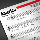 Boomwhacker Tubes Sheet Music: America (My Country, 'Tis of Thee)