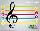 Boomwhackers-Color Coded Lines and Spaces Treble Clef