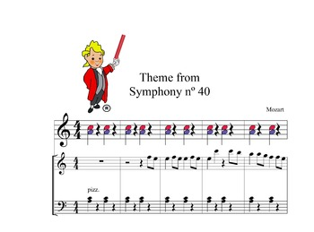 Boomwhackers  easy Mozart theme from symphony nº40,and piano score.