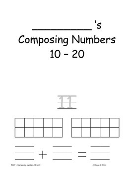 Booklet - Composing Numbers 10 to 20
