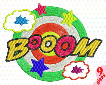 Booom Comic Book Embroidery Design superhero hero pop art Speech Bubbles 148b