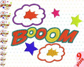 Booom Comic Book Embroidery Design superhero hero pop art Speech Bubbles 152b