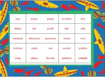 Boot Verb Bingo (spanish 2)