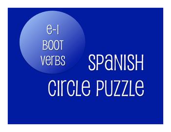 Spanish E-I Boot Verb Circle Puzzle