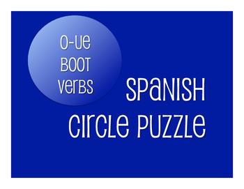 Spanish O-UE Boot Verb Circle Puzzle