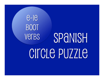 Spanish E-IE Boot Verb Circle Puzzle