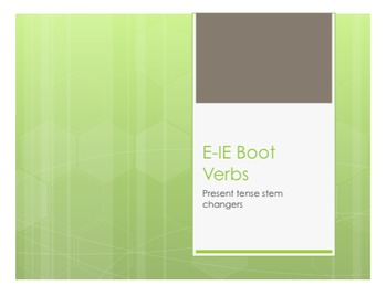 Spanish E-IE Boot Verb Notes