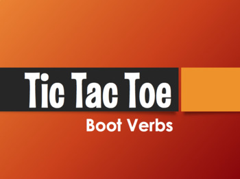 Spanish Boot Verb Tic Tac Toe Partner Game