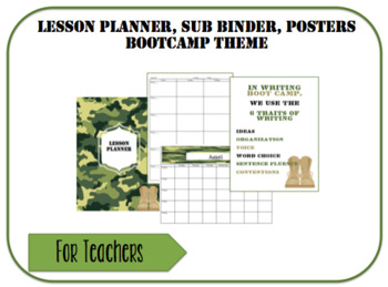Lesson Planner, Sub Binder, Posters-Bootcamp Theme