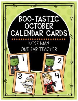 Bootastic October Calendar Cards