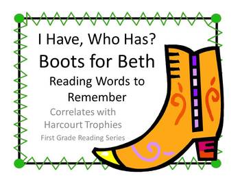 """Boots for Beth """"I HAVE, WHO HAS?"""" Sight Word Practice for Harcourt Trophies"""