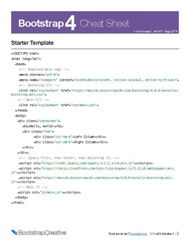 Bootstrap 4 Classes Cheat Sheet PDF - Responsive Web Design Reference