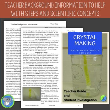 Borax Crystal Lab:  Investigate the Type of Water on Crystal Growth  Grade 2/3