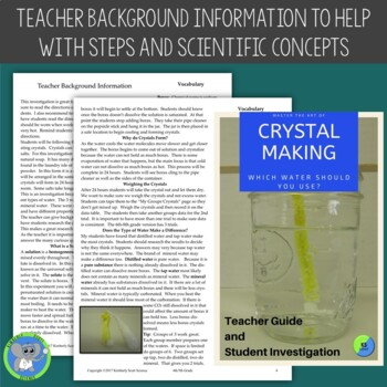 Borax Crystal Lab:  Investigate The Type Of Water On Crystal Growth Grade 4/5