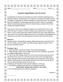 Borax Crystal Snowflakes Lab Activity
