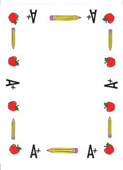 Border - A+, Apples and Pencils