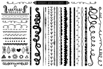 200+ Border ClipArt Images, Corners, Page dividers, Square Borders, Line Art