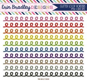 Border Clipart - Glitter Loops