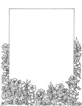 Border - Coloring Page Flowers