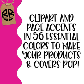 Border Edges Clipart Page Accents in 56 Colors