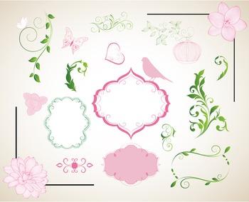 Border Frame Ornate Clip Art Flourish Swirl Decor Embellishment Pink and Green