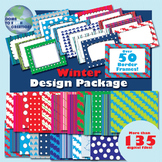 Seller's Kit- Border Frames and Digital Papers- Winter Pack