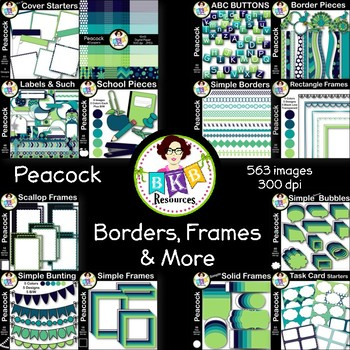 HUGE Seller Kit ● Border, Frames and More Clip Art ● Peacock Design Kit