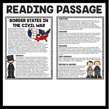 Border States During the Civil War Reading Comprehension Worksheet