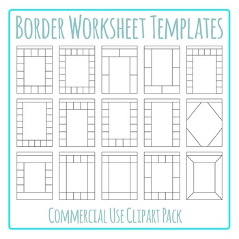 Border Worksheet Templates / Layouts Clip Art Pack for Commercial Use