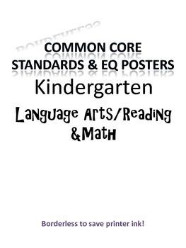 Borderless Common Core & EQ Posters - SAVES INK (Kindergarten)
