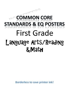 Borderless Common Core & EQ Posters - SAVES INK (First Grade)