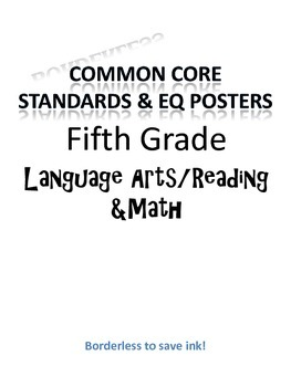 Borderless Common Core & EQ Posters - SAVES INK (Fifth Grade)