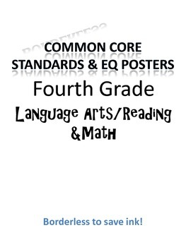 Borderless Common Core & EQ Posters - SAVES INK (Fourth Grade)