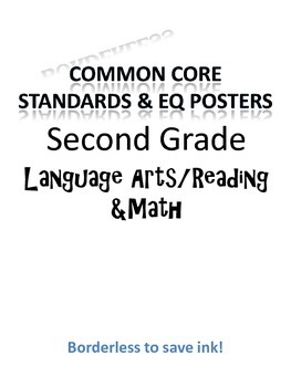 Borderless Common Core & EQ Posters - SAVES INK (Second Grade)