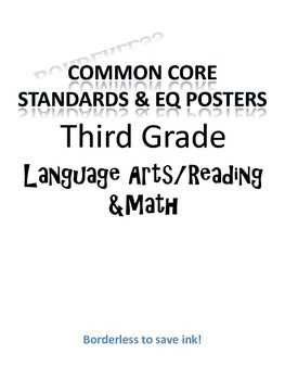 Borderless Common Core & EQ Posters - SAVES INK (Third Grade)