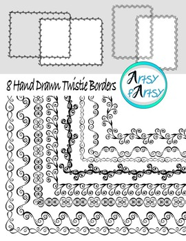 Borders #1, Hand drawn, modern designs, clip art