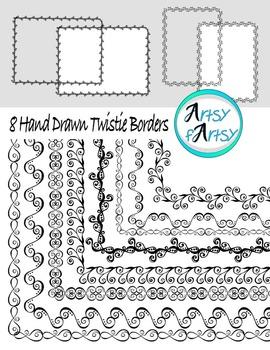 Borders #1, Hand drawn, modern designs, clip art