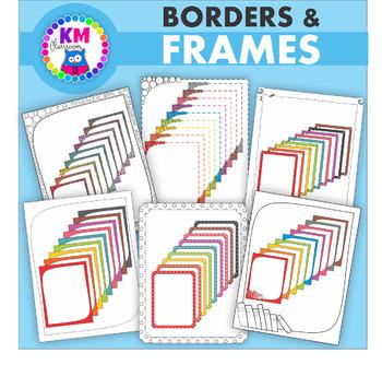 Borders in Rainbow Colors - Clip Art