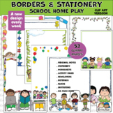 Borders 53 Clipart School Home Play Pages (Karen's Kids Clipart)