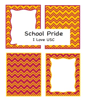 Borders: Chevron for University Southern California (USC) Cardinal & Gold