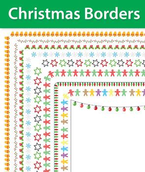 9 Christmas Borders and Frames, Doodle Borders, Doodle Frames, Christmas Frames