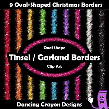 Oval Christmas Borders and Frames with Tinsel Garland Effect