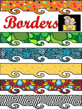 Borders - Clipart - 34 color and black & white - Personal or Commercial Use
