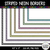 "Borders Clip Art - Striped Neon Page Borders 8.5"" x 11"""