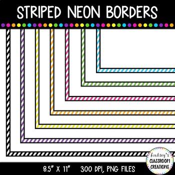 """Borders Clip Art - Striped Neon Page Borders 8.5"""" x 11"""""""