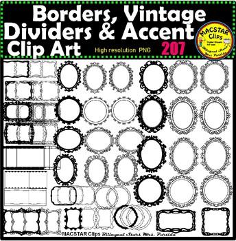 Borders Clip Art Vintage, Dividers & Accent Set ClipArt Bundle