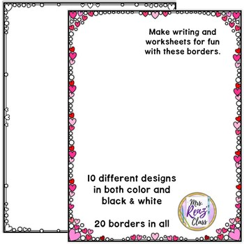 Close Edge Borders Hearts Color and BW for Commercial or Personal Use