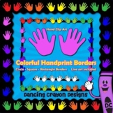 Borders: Colorful Hands Borders and Frames / Hands Clip Art