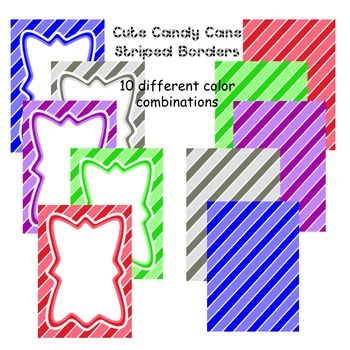 Borders: Candy Cane Striped Paper and Frames