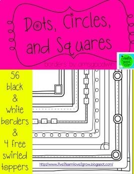 Black and White Borders Set   Dots   Circles   Squares